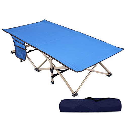 REDCAMP Extra Long Kids Cot for Sleeping 5-10, Sturdy Portable Folding Toddler Cot Bed for Boys Girls Camping Travel, Blue 53x29