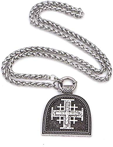 CCXXYANG Co.,ltd Necklace Jerusalem Cross Necklace Israel Holy Land 45 * 50Mm Jewish Medal Catholic Faith Crusader