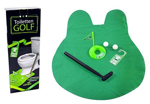 Trendario Toiletten Golf Set, 6-teilig, größenverstellbarer Golfschläger 62 cm, 2 Golfbälle, Türschild, WC Golf-Grün Vlies für Badezimmer