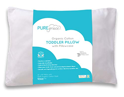 Organic Cotton Toddler Pillow with Pillowcase by PUREgrace -Natural GOTS Certified - Hypoallergenic - 100% Eucalyptus TENCEL