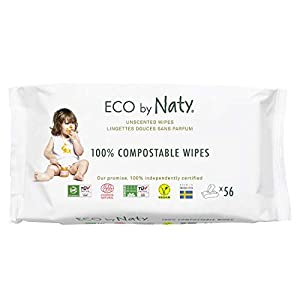 Eco by Naty Toallitas sin Fragancia para bebé, 672 unidades (12 paquetes de 56), Toallitas húmedas compostables hechas a base de fibras vegetales. 0% plástico. Sin sustancias nocivas.