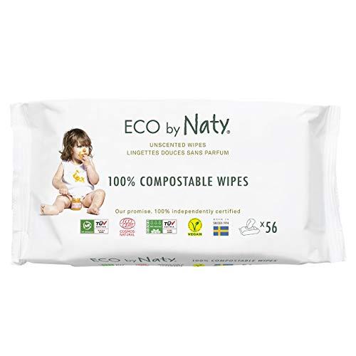 Eco by Naty Parfümfreie Baby-Feuchttücher, 672 Stück (12 Packungen mit je 56), pflanzliche kompostierbare Feuchttücher, 0% Plastik. Frei von gefährlichen Chemikalien