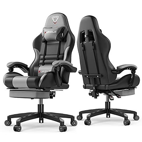 Furgle Gaming Stuhl Bürostuhl PC Stuhl Ergonomischer Gaming Stuhl Supersportwagen Designkonzept PU Leder verstellbare Armlehne mit Kopfstützen, verstellbaren Armlehnen und Fußstützen,Schwarz-Grau