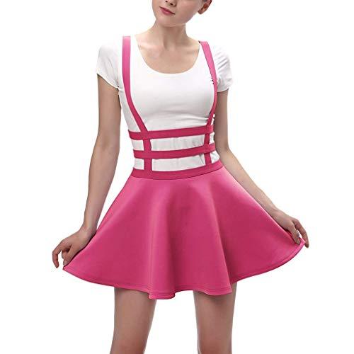 Vimoli Röcke Damen Plisseerock mit kurzen Falten für Damen Mode lässig Rock (Hot Pink,De-36/CN-S)