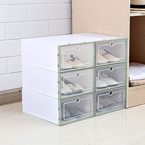 Caja de almacenamiento para zapatos, 3 unidades engrosadas y plegables, cajas de almacenamiento apilables, de plástico transparente para zapatos, zapatero, soporte para zapatos (color: verde)