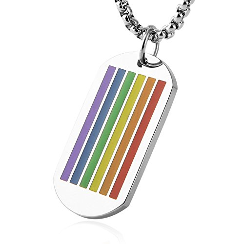 HZMAN Rainbow Gay Lesbian Pride Stainless Steel LGBT Peace Dog Tag Pendant Necklace 24' Chain