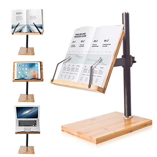 Book Stand Height Adjustable - wishacc Upright Bamboo Book Stand & Holder for Reading Hands Free, Desktop Adjustable Reading Height and Angle Book Rest with Page Clips (11.0 x 8.1 inches)
