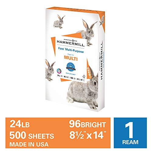 Hammermill Fore Multi-Purpose 24lb Copy Paper, 8.5 x 14, 1 Ream, 500 Sheets, Made in USA, Sustainably Sourced From American Family Tree Farms, 96 Bright, Acid Free, Economical Printer Paper, 101279R,White