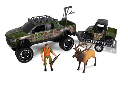 NKOK 1: 18 Realtree 9Piece Ram 1500 Rebel & Polaris Ranger Elk Hunting Playset
