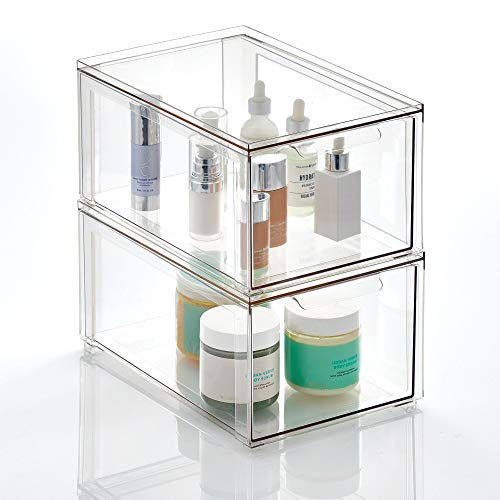 mDesign Plastic Stackable Bathroom Storage Box with Pull-Out Drawer - Container for Organizing Hand Soaps Body Wash Shampoos Lotion Conditioners Hand Towels Hair Accessories - 2 Pack - Clear