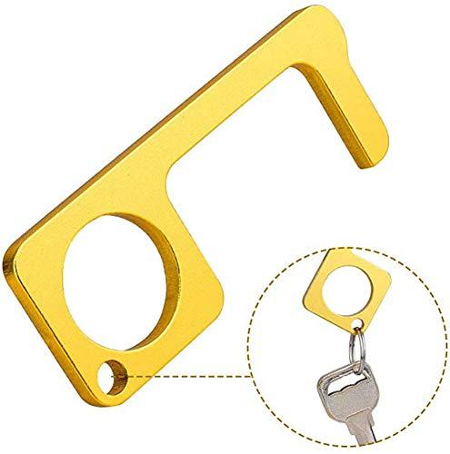 Tragbarer Türgriff Kontaktloser, Türöffner Stylus Closer Tool Messing Kontaktloser Türschließer, Aufzug Öffnungsschlaufe Haken Hand Stick Verwendung für Zuhause, Büro, No Touch Mehrzweckschutz
