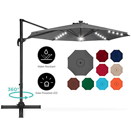 Best Choice Products 10ft 360-Degree LED Cantilever Offset Hanging Market Patio Umbrella w/Easy Tilt - Gray