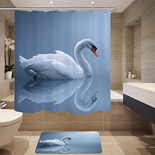 Hochwertiger Möbelbedarf Digitaldruck 3D Simulation Tiermuster Duschvorhang Schwan Stoff Duschvorhang Q3 150x180cm
