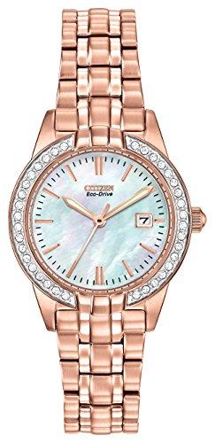 Citizen Watch Silhouette Kristall Damen Quarzuhr mit weißem Zifferblatt Analog-Anzeige und zweifarbigem Armband Edelstahl vergoldet ew1683–65D