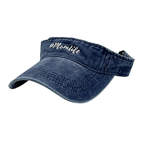 Waldeal Women's Embroidered Mom Life Visor Hat Sun Protection Sports Visor for Golf, Tennis, Beach and Hiking Navy