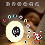 Réveil,Réveil Lumière Coucher de Soleil Simulation Lampe de Chevet 10 Couleurs 10 Luminosité 51 Sons Radio FM Protection...