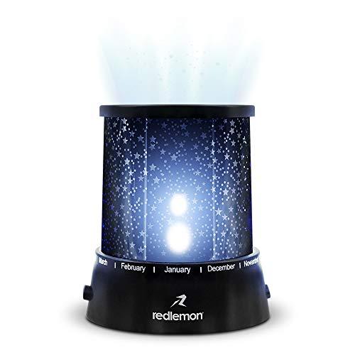 Redlemon Lámpara LED Proyector de Estrellas, con Conexión USB y Baterías AA (No Incluidas), 2 Modos de Iluminación Luz Blanca y de Colores, Ideal para Niños, Tamaño Portátil, Lámpara de Noche. Neg