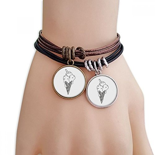 DIYthinker Womens zwarte contour sesam koekjes ijs crème armband dubbele lederen touw polsband paar set