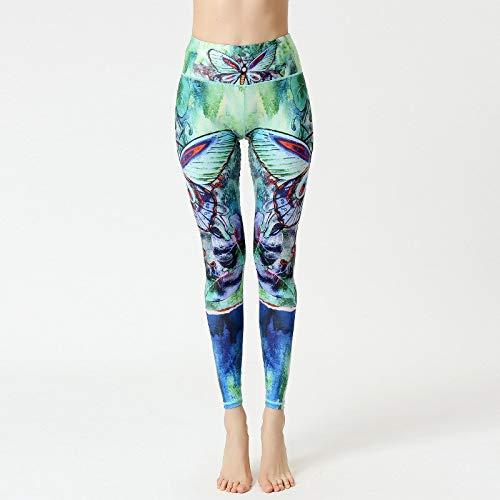QINGJIA Moisture Wicking Impresión digital de cadera de levantamiento de fitness Gimnasio pantalones de las mujeres de cintura alta medias del estiramiento Ejecución de Yoga Deportes sin fisuras de la