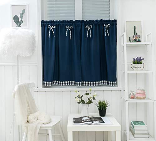 Dreamskull Cortinas cortas para ventanas pequeñas, de estilo rústico, vintage, opacas, cortas, modernas, de cocina, a cuadros, 90 cm de alto, juego de 2 unidades para salón (azul oscuro)