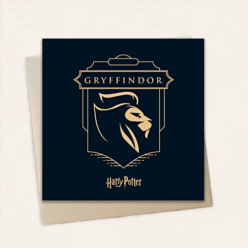 Harry Potter Gryffindor Verjaardagskaart - Gouden Embossed Card van hoge kwaliteit | Inclusief 1 x Eco-Craft Envelop | 15 x 15cm | Officieel gelicenseerde Harry Potter Merchandise