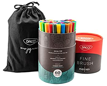 DACO Fine Brush Markers 60 Dual Brush Pens Art Markers Fineliner & Brush Tip Water Based & Washable Markers for Artists Adult Coloring Kids Coloring Books Bullet Journal Drawing Calligraphy