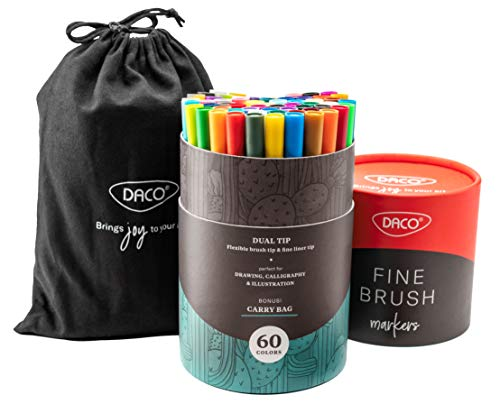 DACO Fine Brush Markers, 60 Dual Brush Pens Art Markers, Fineliner & Brush Tip, Water Based & Washable Markers for Artists, Adult Coloring, Kids Coloring Books, Bullet Journal, Drawing, Calligraphy