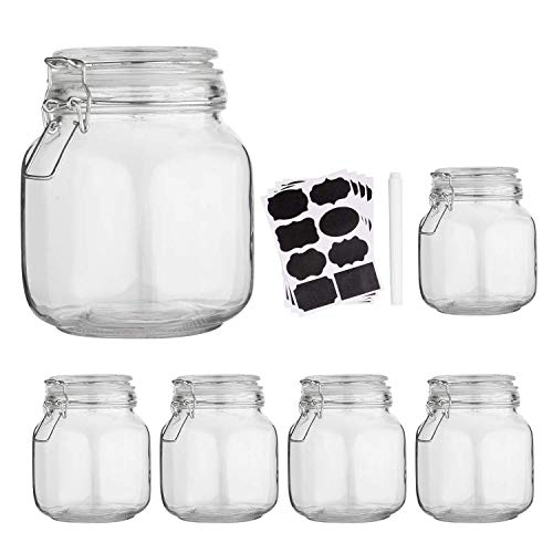 Glass Kitchen Storage Canister Mason Jars with Lids,32oz Airtight Glass Canister with Hinged Lid?Perfect for Kitchen Canning Cereal,Pasta,Sugar,Beans (Labels & Chalk Marker)-Set of 6