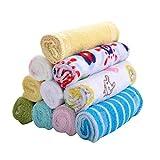 PULABO - 8 paños de baño de algodón suave y coloridos, para bebé, para recién nacido, pañuelos, baberos, toallas de alimentación de calidad superior y útil popular