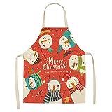Dusenly Tablier de Noël pour Femme,Tablier de Cuisine imperméable Modèle de Noël Tablier en Coton et Lin pour la Cuisine de...