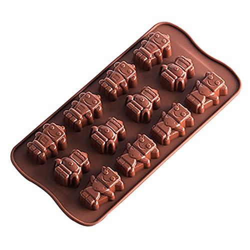 ZDNB 4 moldes de silicona para chocolate, varios ladrillos, cubitos de hielo, moldes de chocolate, muy divertido para los amantes de los robots