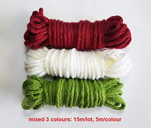 100% Acryl geflochtene Schnüre Durchmesser 5mm Dickes Seil 15m / Lot zum Handstricken Häkeln Dekoration DIY, gemischt 3 Farben