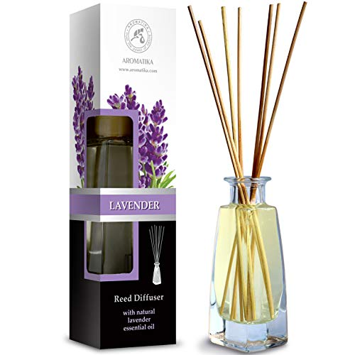 Reed Diffuser with Natural Essential Oil Lavender 100ml - Scented Reed Diffuser - Non Alcohol - Gift Set with Bamboo Sticks - Best for Aromatherapy - SPA - Home - Office - Fitness Club