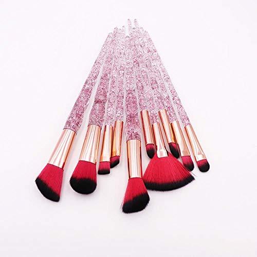 QWK Makeup Brush Set Powder Blush Foundation Brush Fard à paupières Brush Makeup Brush Set, Red