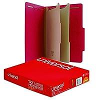 Pressboard Classification Folders, Letter, Six-Section, Ruby Red, 10/Box (並行輸入品)