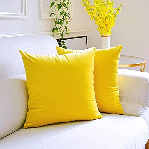 Emooqi Juego de 2 fundas de cojín decorativas de terciopelo 45 x 45 cm, con cierre de fricción oculto, color amarillo limón