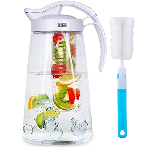 Water Pitcher with Lid and Handle Iced Tea and Fruit Infuser Pitcher Tritan High Heat Resistance Infusion Pitcher for Fridge 2.2L Capacity Perfect for Cold Water Beverage Sangria and Juice