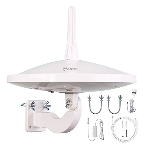 ANTOP UFO 720° Dual-Omni Reception Outdoor HDTV Antenna 65 Mile Range with Smartpass Amplified & Built-in 4G LTE Filter Fit Indoor/Outdoor/RV/Attic Use for Enhanced VHF/UHF(33ft Coaxial Cable) AT-415B