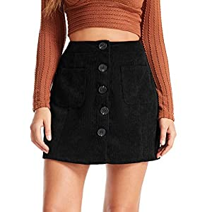 Women's Mid Waist Corduroy A-line Slim fit Button Casual Mini Skirt