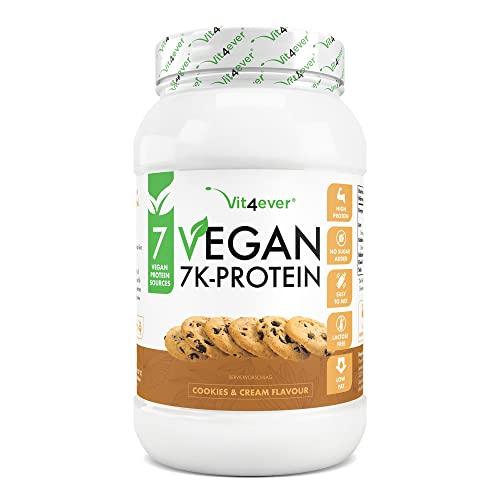 Vegan 7K Protein - 1kg - Cookies & Cream - Proteine vegetali pure in polvere con proteine di riso, mandorle, soia, piselli, canapa, mirtilli, girasole