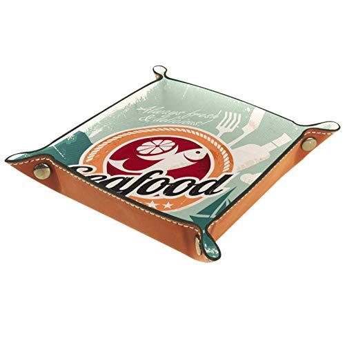 Petite boîte de rangement, plateau de valet pour homme,Vintage Seafood Restaurant Couteau à papier rétro,Organisateur de fourre-tout en cuir pour bijoux à clés
