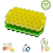 Ice Cube Trays 2Pack, Honeycomb Ice Cube Molds with Flexible Removable Lid, Stackable BPA Free Silicone Ice Cube Maker, for Whiskey Coffee Fruit Juice and Cocktails, Makes 37 Ice Cubes Each