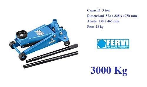 Sollevatore Cric idraulico a carrello portata 3000 Kg 3 TON Fervi C038/30