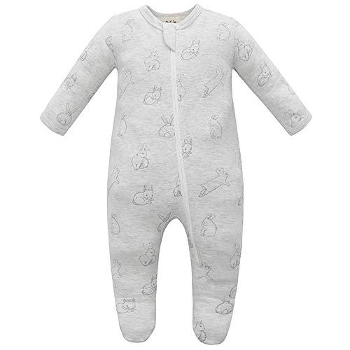 Owlivia Organic Cotton Baby Pajamas, Boys Girls Zip Front Sleep 'N Play, Footed Sleeper, Long Sleeve(12-18 Months, Gray Rabbit)