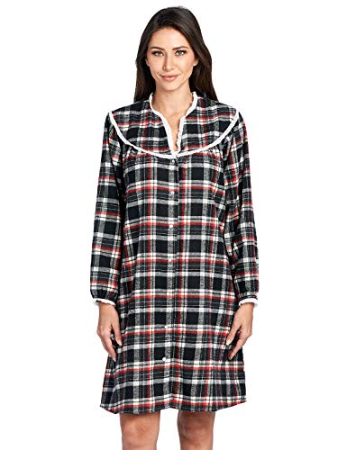 Ashford & Brooks Women's Snap Front Flannel Robe Long Sleeve Lounger Duster House Dress, Black/Ivory, Small