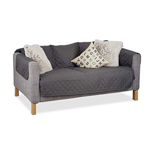 Relaxdays Sofaschoner 3 Sitzer, schützender Überwurf Sofa und Couch, gegen Tierhaare und Flecken, Schonbezug, Grau