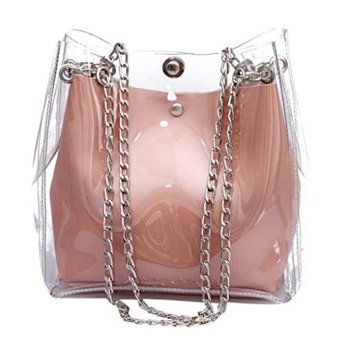 VJGOAL Schultertasche Damen Frauen Mädchen Mode Wild Beuteltasche Mini Kette Durchsichtig Kunststoff Geleepackung (Rosa, One Size)