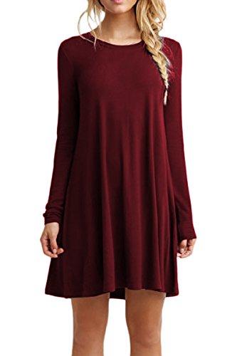 YMING Damen Tops Langarm Casual Shirtkleid Langarm Longshirt Looses Tunikakleid,Burgundy,M