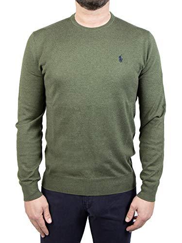 Polo Ralph Lauren Mod. 710744679 Suéter Cuello Redondo Algodón Pima Slim Fit Hombre Verde S