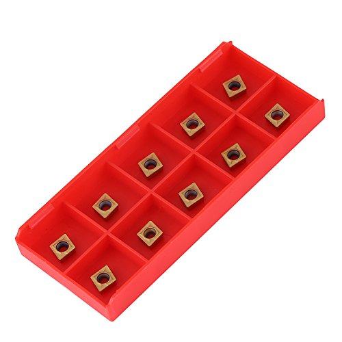 10pcs CNC Hartmetall Einsatzschneider, Wendeschneiddrehmaschine Fräseinsätze Drehwerkzeuge mit Schachtel für Stahlhalbschneiden CCMT060204-HM YBC251